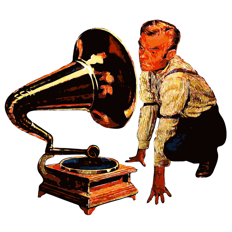 Man listening to Gramophone Saturized