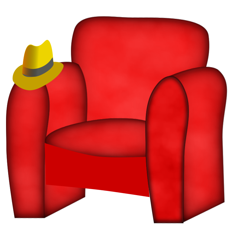 hat on a chair .