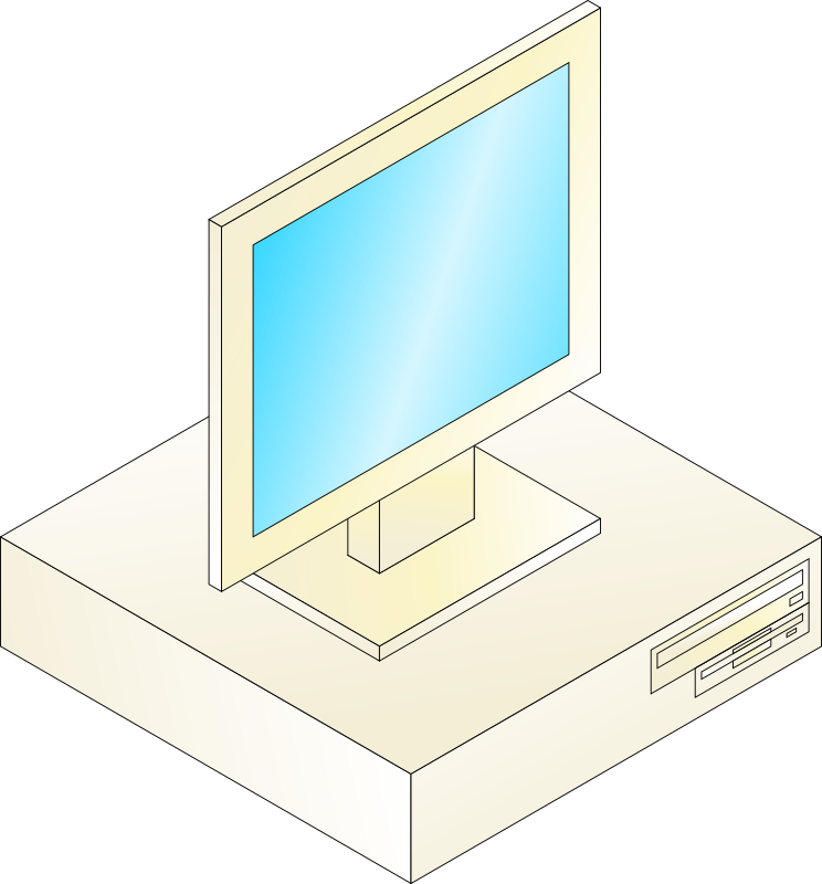Desktop computer with monitor on top