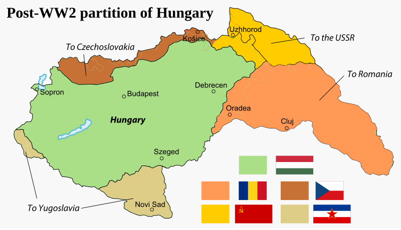Partition of the Kingdom of Hungary after WW2, 1945.