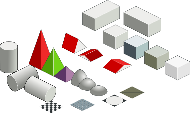 Set of basic isometric figures