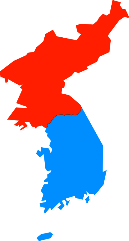 North and South Korea Simple Map