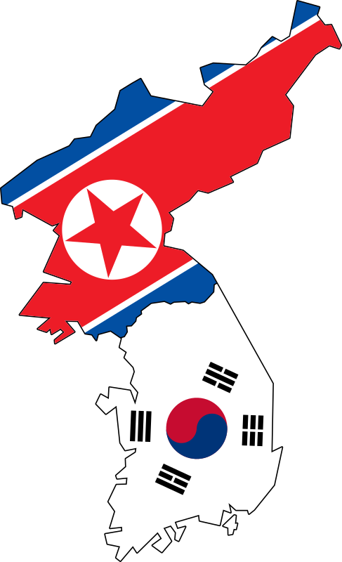 North & South Korea Flag Map (No Jeju)