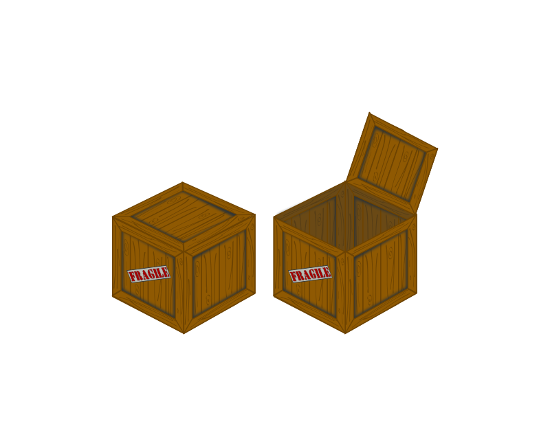 Closed and open perspective crate