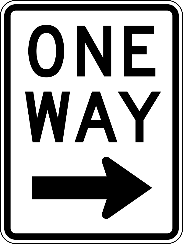 One Way Right traffic sign, vertical