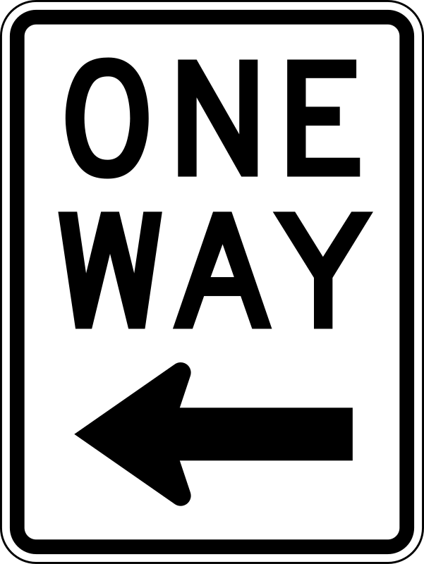One Way Left traffic sign, vertical