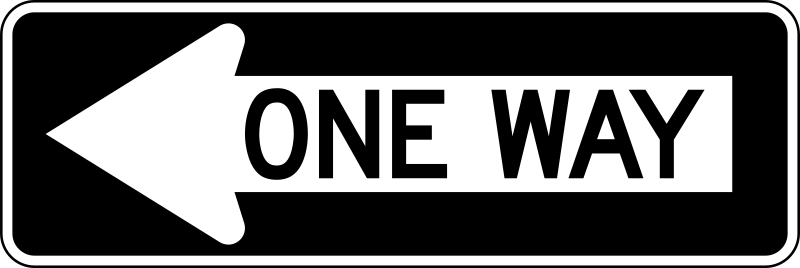 One Way Left traffic sign, horizontal