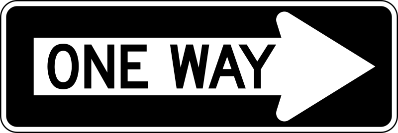 One Way Right traffic sign, horizontal