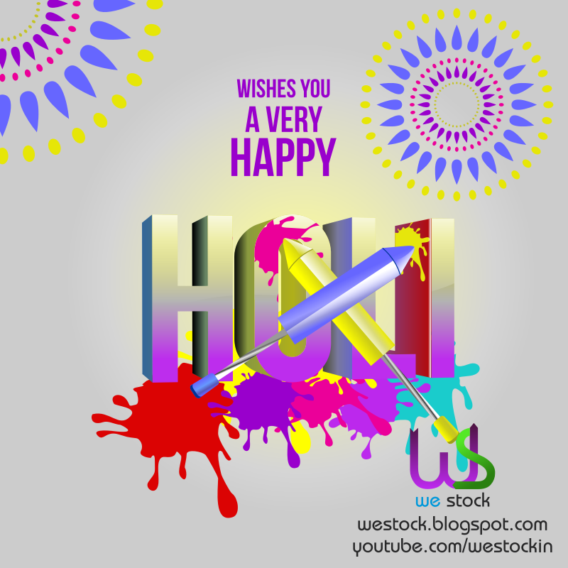 HOLI 3D STYLE WITH COLORS, SPLASHES & PICHKAARI