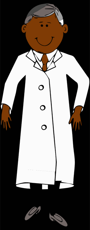 lab coat worn by scientist with grey hair