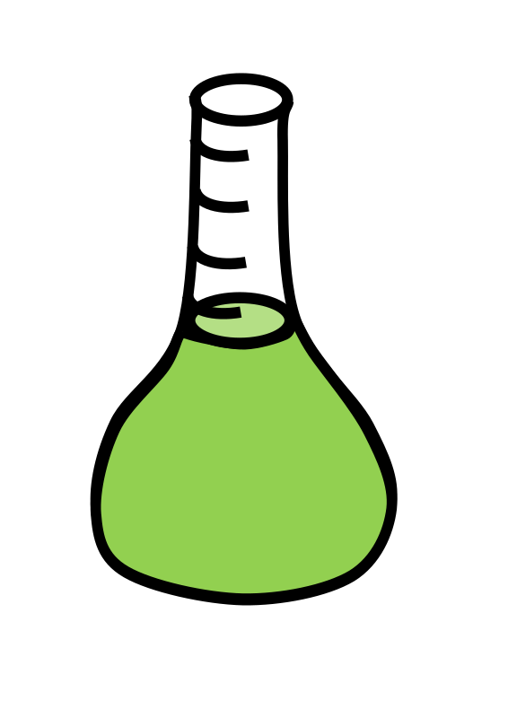 Erlenmeyer flask with green liquid