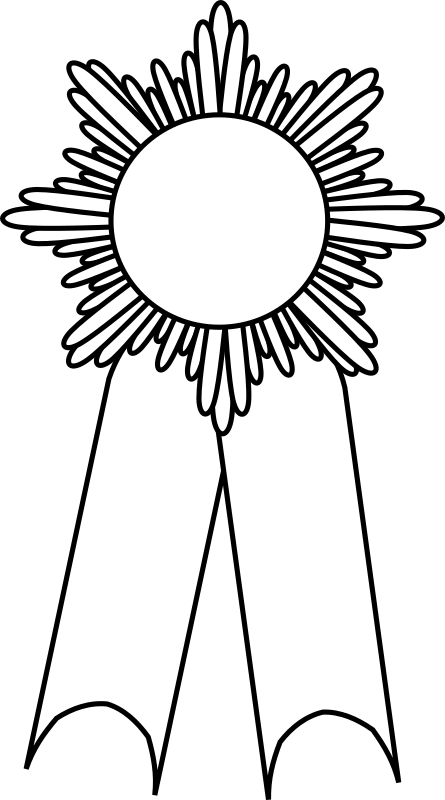 Black and white prize ribbon