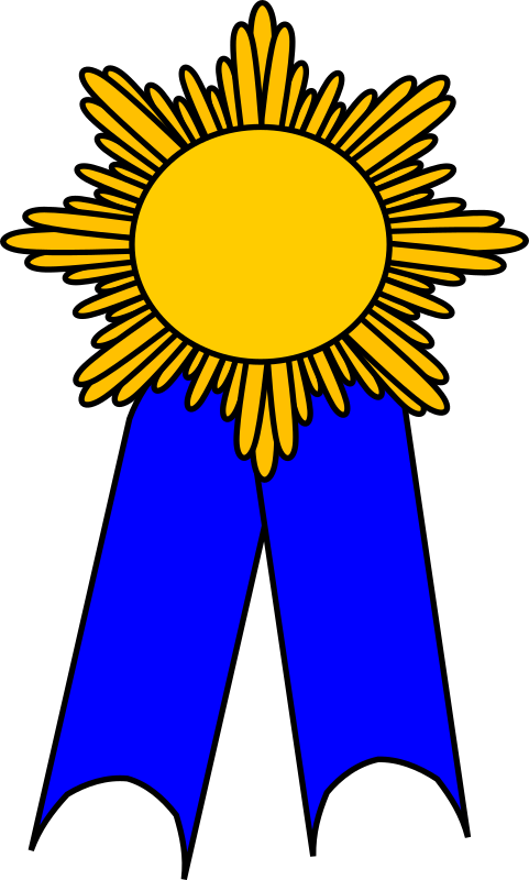 prize ribbon blue and gold