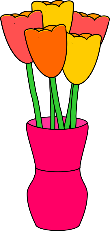 Pink vase of multicolored tulips