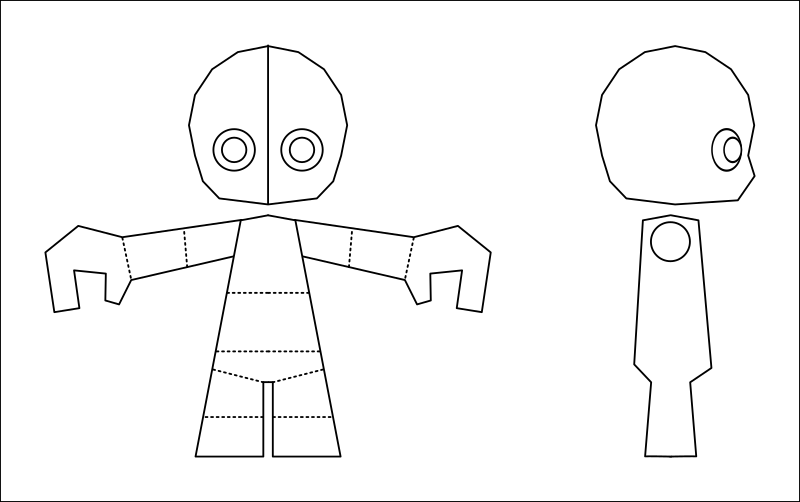 Small 3D character blueprint 2