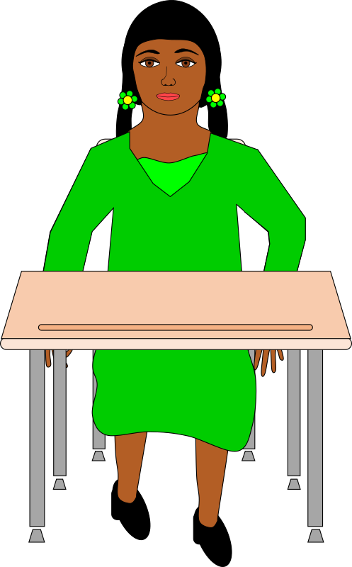 Girl in pigtails sitting at student desk