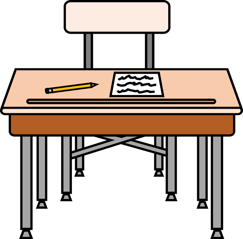 Empty seat with a worksheet