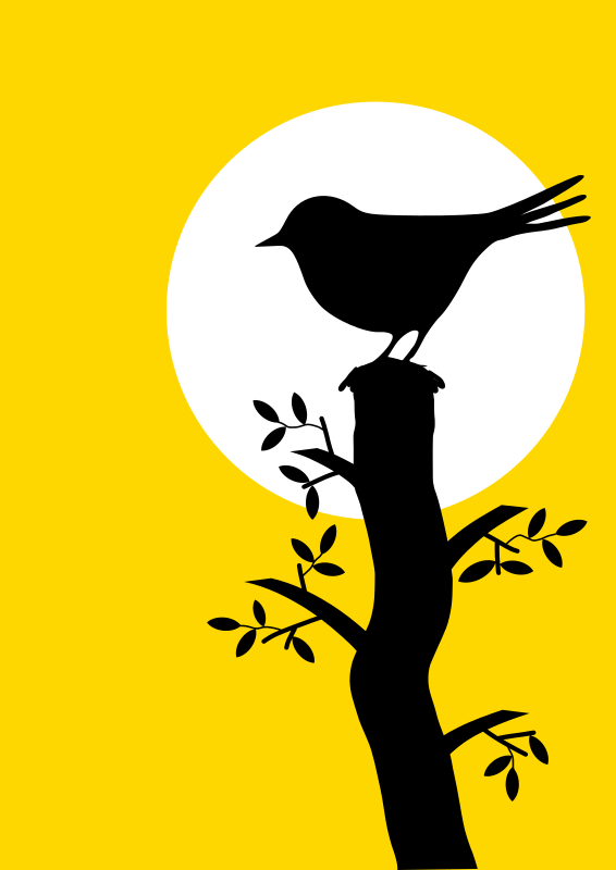 Silhouette with bird and tree
