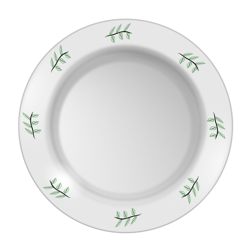Plate with leaf pattern