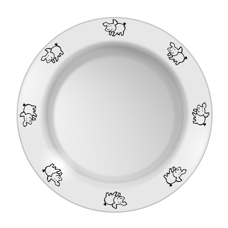 Plate with pig pattern