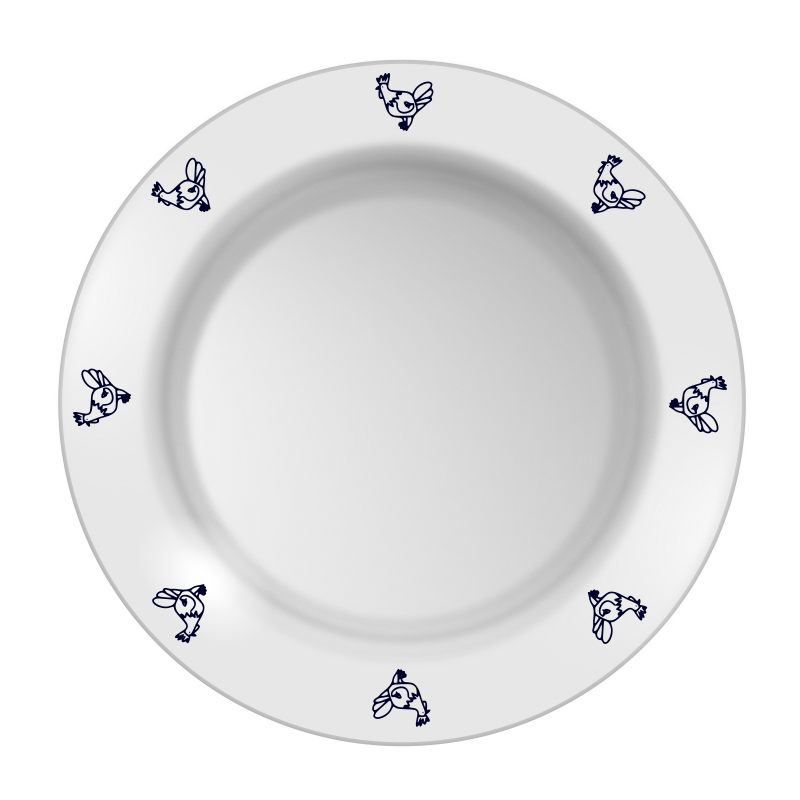 Plate with chicken pattern