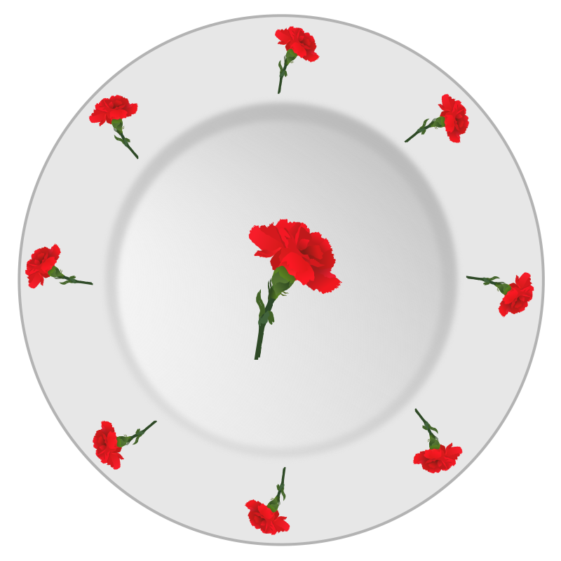 Plate with carnation pattern