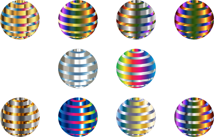 Set Of 10 Shiny Metallic 3D Spheres
