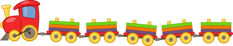 Toy train with 5 wagons