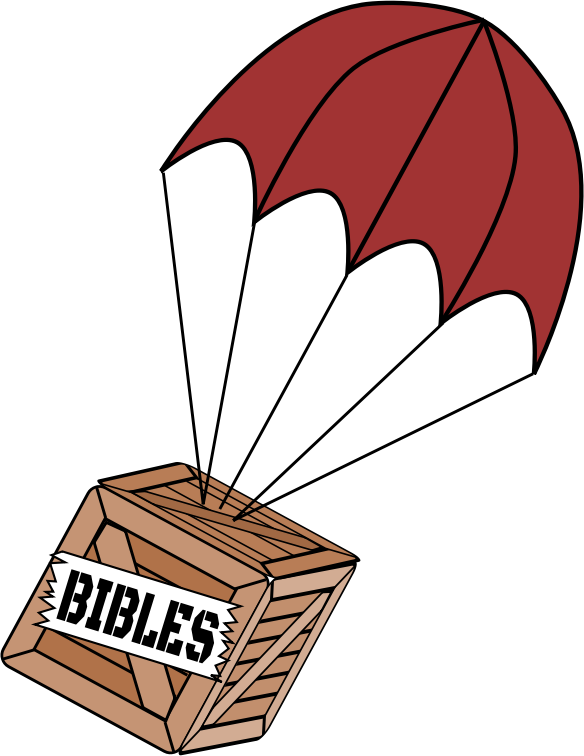 Parachute on Box of Bibles Improved