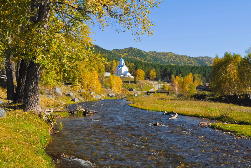 Orthodox Church In A Picturesque Landscape