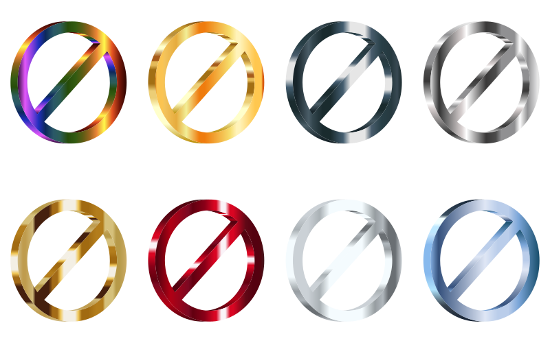 3D Shiny Metallic No Signs (Set Of 8)