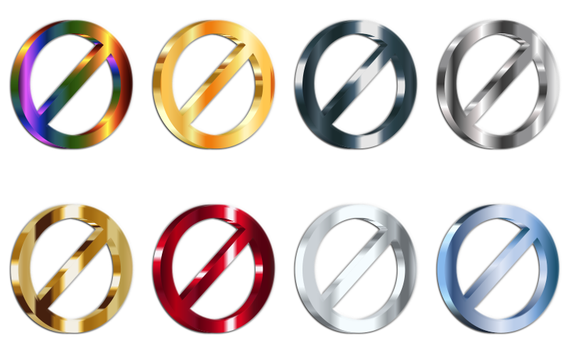 3D Shiny Metallic No Signs (Set Of 8) With Shading