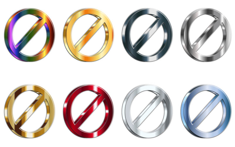 3D Shiny Metallic No Signs (Set Of 8) With Reverse Shading