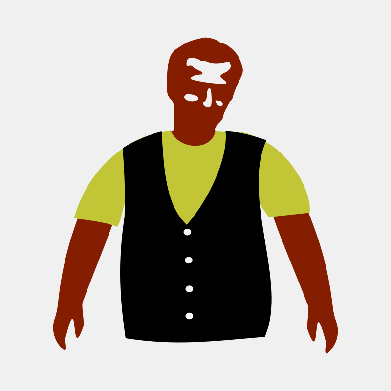 Man with T-shirt and vest