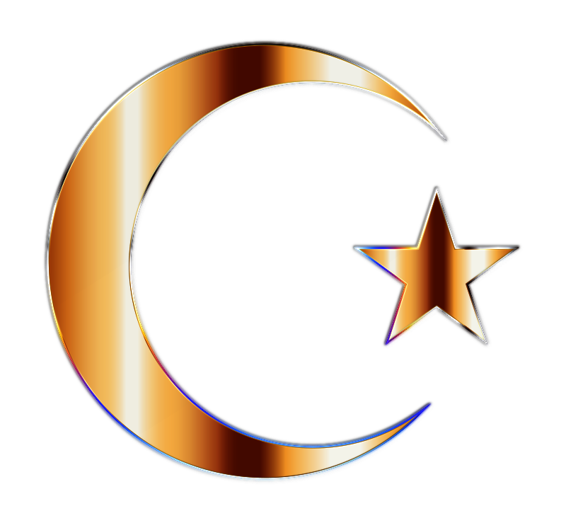 Golden Crescent Moon And Star