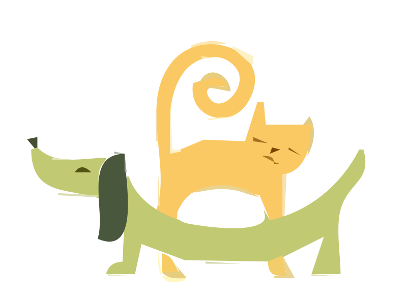 Yellow Cat and Green Dachshund