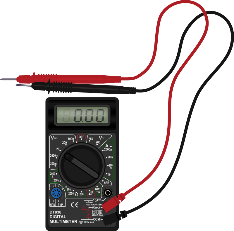 Multimeter with test leads