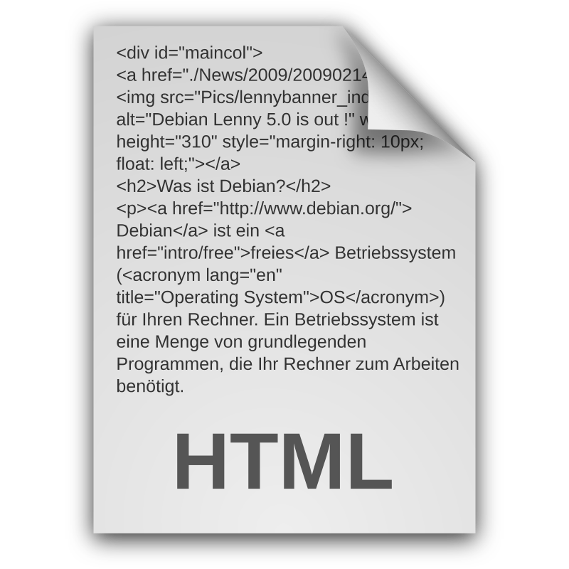 HTML Document Icon Outlines