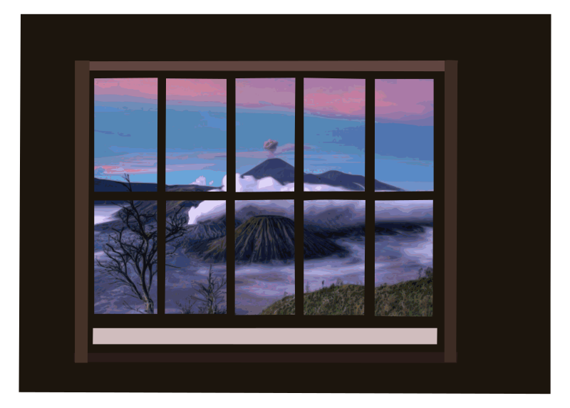Window with mountain-view