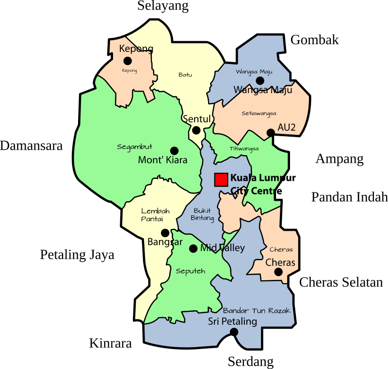 Parliamentary map of the Federal Territory of Kuala Lumpur, Malaysia