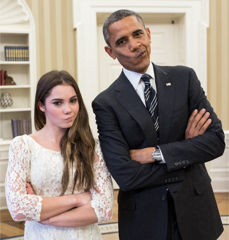 Barack Obama With Artistic Gymnastic McKayla Maroney