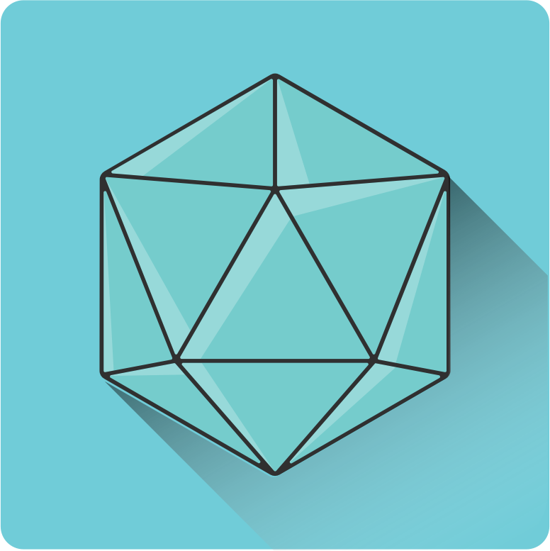 shadowed 20 sided dice icon