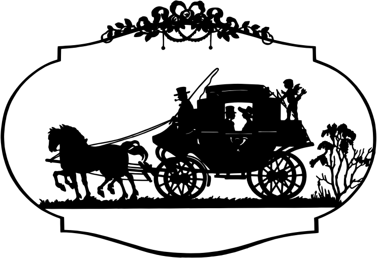 Vintage Horse And Carriage Silhouette
