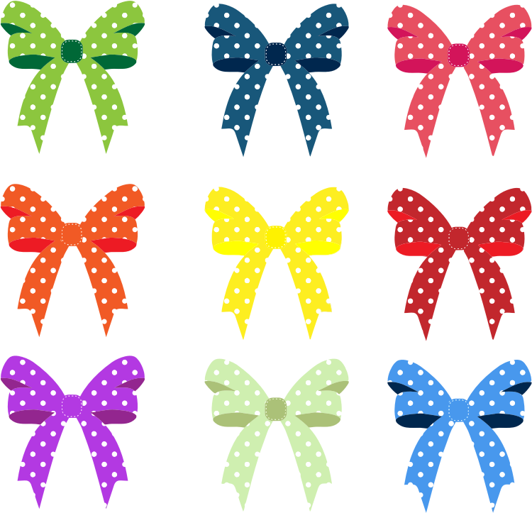Colorful Ribbons And Bows Polka Dots