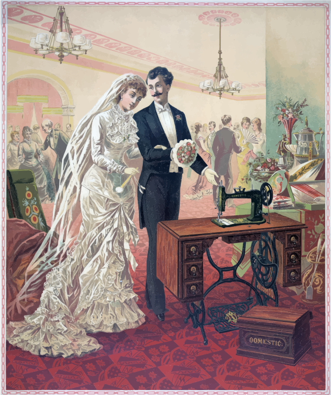 Vintage Bride And Groom Illustration