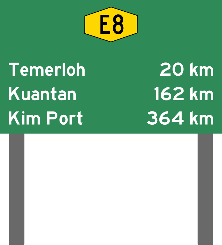 Malaysia Expressway Distance Sign