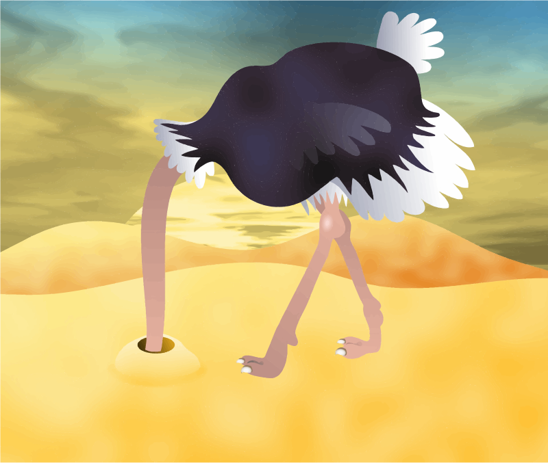 Cartoon Ostrich With Head In Sand