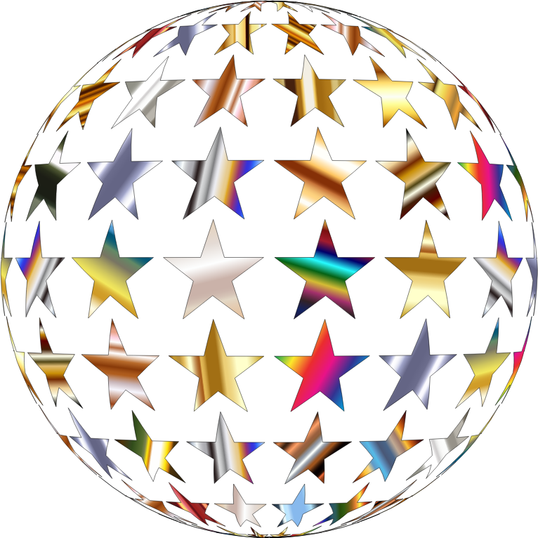 Metallic Shiny Stars Sphere