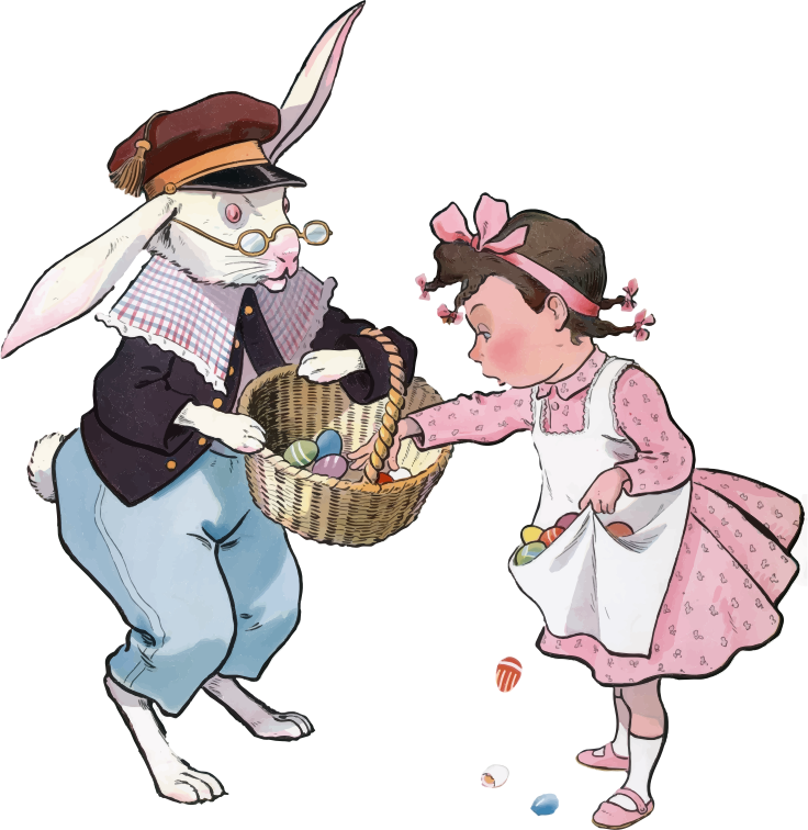 Vintage Easter Bunny And Girl