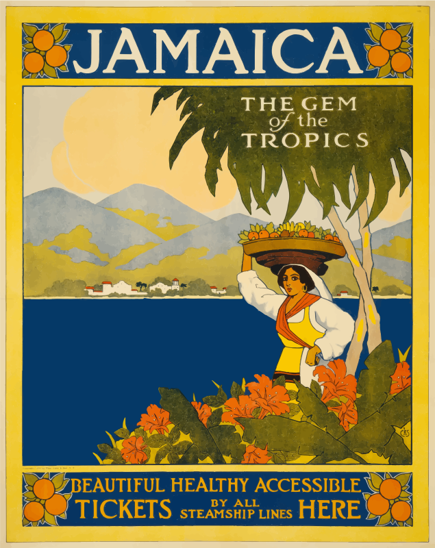Jamaica The Gem Of The Tropics Vintage Travel Poster 1910